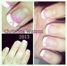 Breast Cancer Ribbon Nail Art by Christina Watson 2013