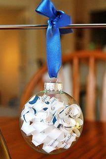 Wedding invitation Christmas keepsake ornament