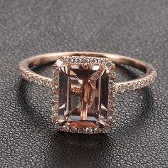 Halo Emerald Cut Morganite .26ctw Diamond Claw Prongs 14K Rose Gold