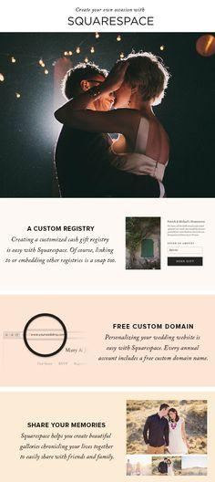 Create unique wedding websites with Squarespace