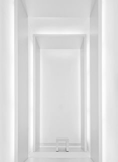 white space, stool, shade, light, white wall