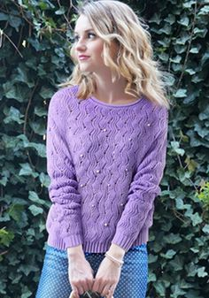 Purple Plain Beading Hollow-out Pullover
