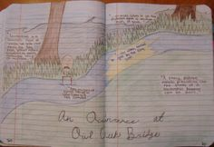 "Jacie's tribute to ""Occurrence at Owl Creek Bridge,"" which we read as part of our interdisciplinary Civil War unit.  They were required to decorate their page with what they thought were the six best descriptions from the story, based on details and use of interesting vocabulary."