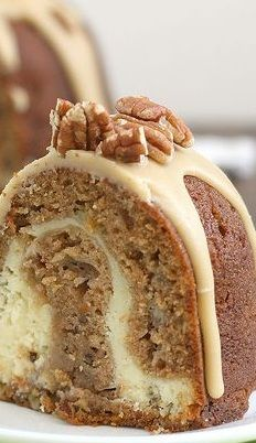Apple-Cream Cheese Bundt Cake - I think I'll try it with peaches...