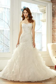moonlight couture fall 2013 bridal strapless organza ruffle wedding dress style h1221