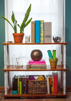 Upcycled + Restyled Home Office Bookshelf