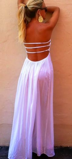 Summer love this back style white dress