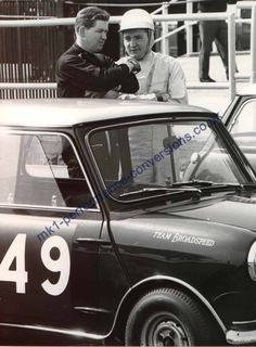 1964 Aintree 200 .. John Handley chats with Paddy Hopkirk