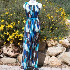 blue print jersey maxi dress. $42.00, via Etsy.