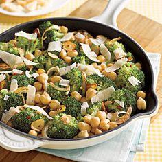Sautéed Chickpeas with Broccoli and Parmesan | MyRecipes.com vegetarian meal, food, dinner recip, parmesan, fun recip, broccoli, side dish, chickpeas, saut chickpea