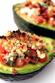 (Just leave out the cheese and bread crumbs for the 4 Hour Diet.) Bake avocados at 450F for 5 minutes. Filling is a mixture of salsa/tomatoes, cheese, bread crumbs, basil, garlic, lemon, salt and pepper.