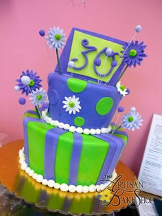 Purple & Green Striped Fondant Tiered Cake