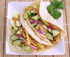 curry chicken tacos with thai cucumber relish thai cucumb, party treats, curri chicken, chicken tacos, relishes, fun recip, cucumb relish, curries, small budget