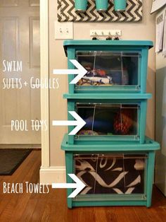 Get ready for warm weather with an organization system for swim gear and towels. Click through to see how @Kristin Cadwallader [BLISS AT HOME] tackled swim gear for her three boys.