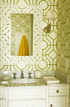 bamboo wallpap, chair fabric, pattern design, framed mirrors, bathroom wallpaper, white bathrooms, powder rooms, guest bathrooms, design bathroom