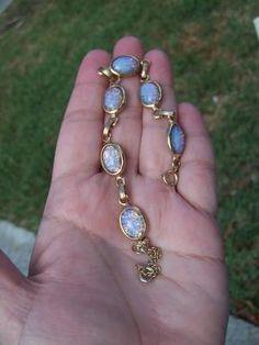 vintage 12k dragons breath fiery opal bracelet 60s