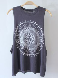 RESTOCKED MAY 27TH!  Rad charcoal gray muscle tank with deep cut armholes. Front has white sun & moon graphic.  Measurements from a Size SMALL (Add half inch for next size up) Front Length: 23 inches Back Length: 25 inches Bust: 11 inches  Cotton/Modal Blend Made in USA