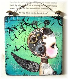 *DaYDReaMs* Steampunk Fairy ~ Deco Square Wall haning