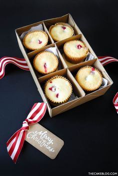 box up for neighbor gifts! | Cranberry Orange Cupcake Recipe | by Carrie Sellman