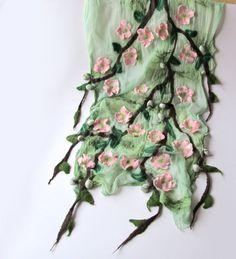 Nuno Felted scarf  pink  Apple blossoms. $119.00, via Etsy. #nunofelted #scarf #apple #blossoms #nunofelting #felting #felt #flower