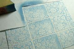 Faux tile technique  tutorial by Julie Warner - justwritedesigns