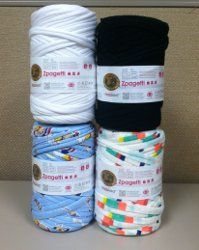 """Head over to AllFreeCrochet for a Zpagetti giveaway! :) """"Zpagetti Yarn by Lion Brand - We're giving away four skeins of this unique yarn that's created from remnants of recycled fabric. This bulky weight fabric yarn is available in solids and prints, and because of the repurposed nature of this product, every available yarn is a limited edition."""""""