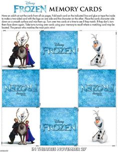 "DISNEY'S ""FROZEN"" MEMORY CARDS  (PRINTABLE)"