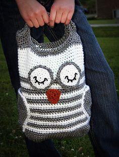 owl tote #crochet @Emily Gildersleeve