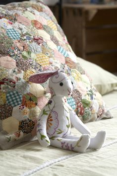 pheasant mail order: Hand Embroidered Vintage Linen Bunny £28 hand, diy ideas, rabbit, english paper piecing, sewing machines, gift ideas, vintag linen, vintage linen, embroid vintag