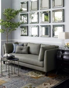 Mirrors in living room decor.