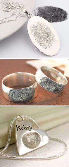 Personalized Fingerprint Jewelry ♥ Great Gift Idea ... Love this!