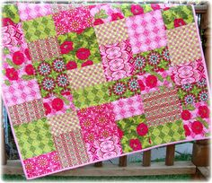 Baby girl quilt. I love the pink & green!