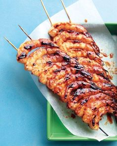 Spicy-Sweet Glazed Shrimp Recipe-- Double up on the skewers to make shrimp easier to flip.
