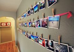 hang pictures on the wall using clothes pins and ribbon. good dorm idea! @Frances Durham Sylvia Durham Sylvia Durham Sylvia Durham Sylvia Becker #college #pictures #DIY #cute #clever@dormify