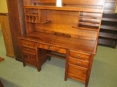 Jacobsville Double Pedestal Desk with hutch - eclectic - desks - columbus - Geitgey's Amish Country Furnishings