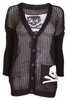 Black Cardigan with Skull Print