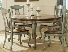 Painted table and chair inspiration on pinterest 191 pins - Refinish kitchen table top ...