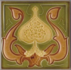 This unattributed English art nouveau floral design most likely is by Carter and Co., but I can't say for sure:  Nine even bars on the back with pattern number in glaze. The tile is in near perfect...