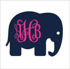 Elephant Monogram Car Decal Vinyl Car Decal by CustomVinylbyBridge, $9.00