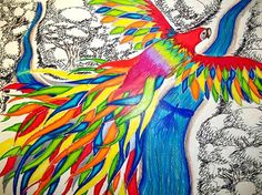 I Love The Idea Of Doing Something With Tropical Birds In Vivid Colors And A (mostly) Black And White Background.