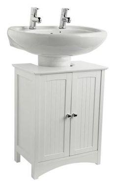 Pedestal Sink Base Cabinet : White wooden under sink bathroom storage cabinet caddy