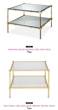 Jonathan Adler Meurice Two-Tier Table $895  -vs-  One Kings Lane Exclusive Urbane Coffee Table $369