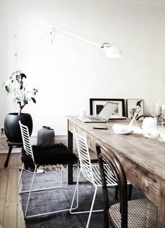 rustic table + metal chairs