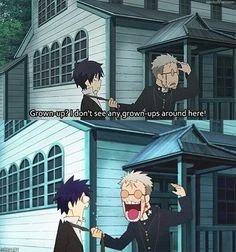 I dunno whose face is funnier! Ao No Exorcist