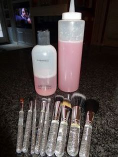 DIY Mac Brush cleaner-   1 cup of distilled water   1/4 cup of rubbing alcohol  1 Tablespoon of shampoo