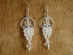 crystals, micro macram, heart, micromacram, macram earring, earrings