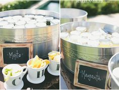 Napa Valley Wedding Photographed by onelove photography-- Premade drinks in jars! Love it!