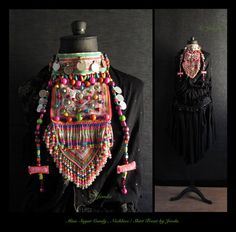 Extravagant statement necklace tribal bib necklace-- kind of reminds me of an elaborately decorated scarf.