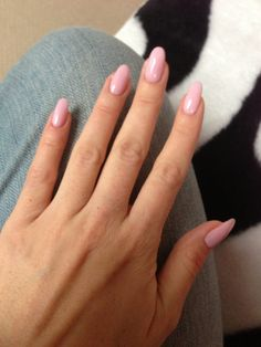 Pink almond shape nails.  I'm kind of liking this shape.  Currently trying to grow out my square tipped nubs...