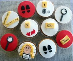 police party, birthday, spi parti, party cupcakes, fondant toppers, parti idea, party cakes, cupcake toppers, fondant cupcakes